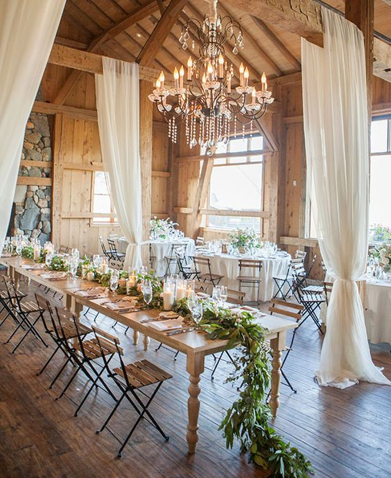 17 best ideas about rustic wedding tables on pinterest for Wedding venue decoration ideas pictures