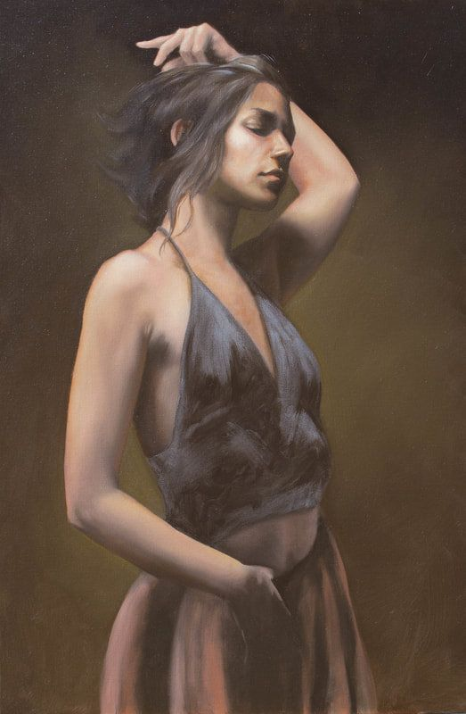 Original Art Oil Painting Lying Nude Woman Model In Art