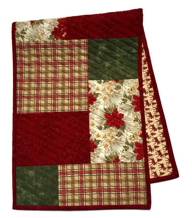Christmas Quilted Table Runner, Holiday Table Runner, Christmas Table Cloth, Christmas Bureau Scarf, Christmas Table Decor, Quiltsy Handmade by LawsonCreations on Etsy