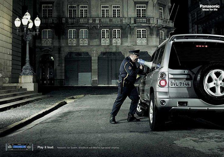 Panasonic Car Audio: Policeman. Реклама аудмосистемы. Надпись: Включи погромче!  #MarkLama #LamaReklama