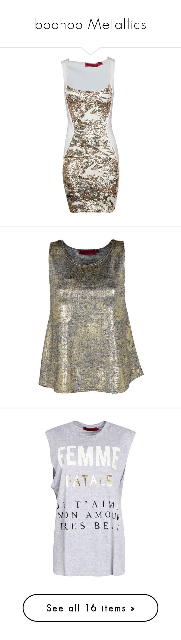 """boohoo Metallics"" by boohoo ❤ liked on Polyvore featuring dresses, vestidos, sequin bodycon dress, body con dress, brown bodycon dress, sequin embellished dress, bodycon dress, outerwear, vests and tops"