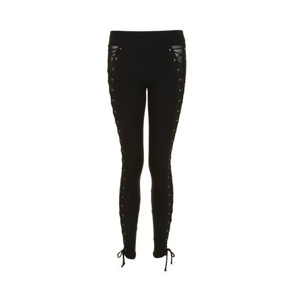 Topshop Lace Up Leggings (52 AUD) ❤ liked on Polyvore featuring pants, leggings, black, lace up pants, lace up leggings, topshop leggings, lace up trousers and thick leggings