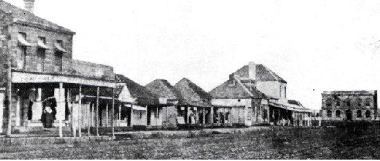 Prince Street Grafton, 1870 (this photo is of the eastern side of the street between Pound and Fitzroy streets – the old School of Arts building is visible in the background)