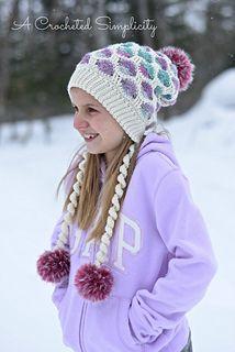 Polka Dot Slouch Crochet Pattern by A Crocheted Simplicity  #handmade #crochet #crochetpattern #crochetbonnet #crochetslouch #crochetpolkadots #polkadots #furpompom