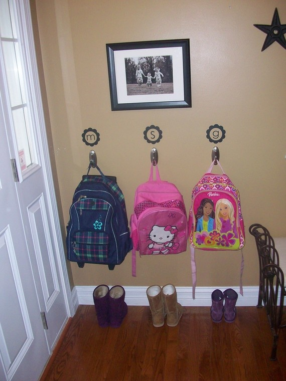 Backpack Organization Wall I Like The Initials Uses Command Hooks Nice To Try Before You Start Drilling And Nailing