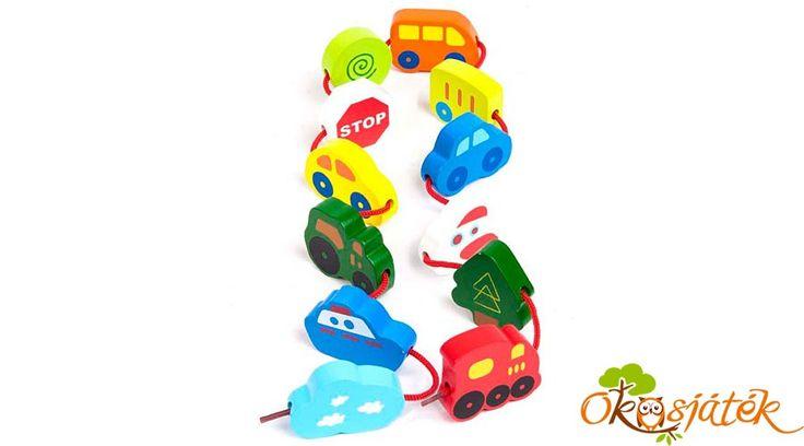 Hape E0905  fűzhető járművek - autós fűzős kézügyesség fejlesztő kreatív játék fiúknak (HO)
