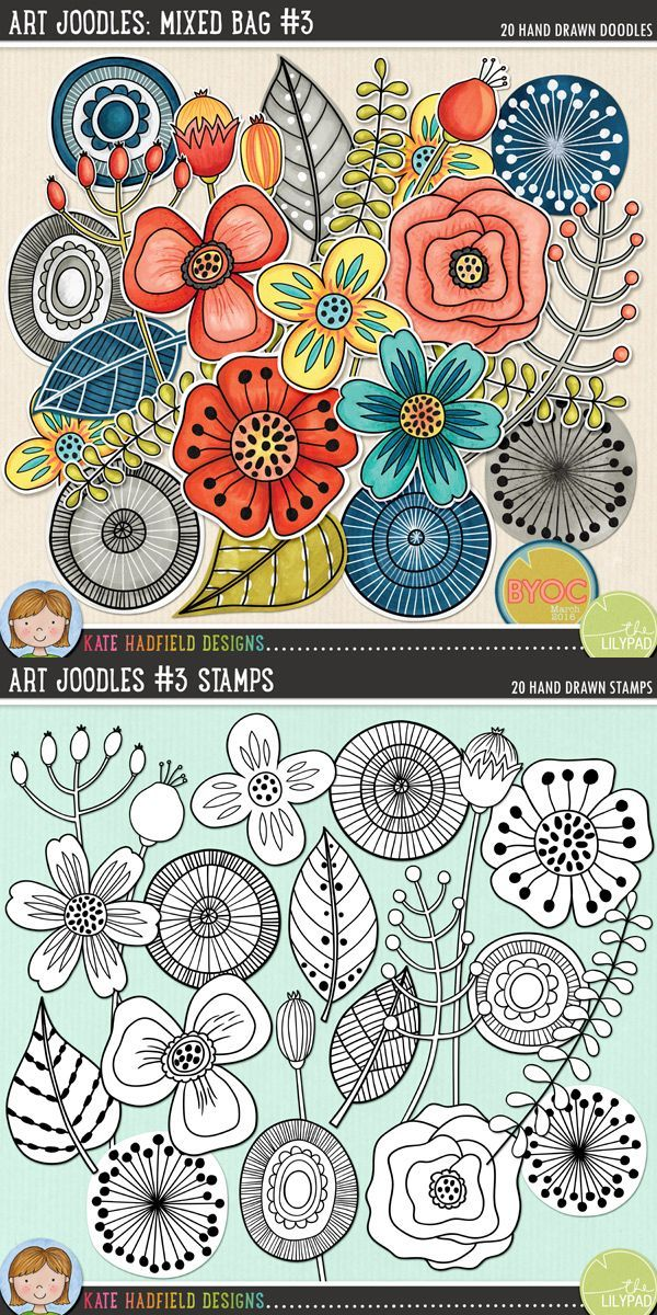 Art Joodles: Mixed Bag #3 by Kate Hadfield Designs. A collection of whimsical, hand painted doodles that are perfect for adding a touch of hand-made fun to your layouts, art journals and other projects! Contains the following hand painted doodles: 6 circles, 5 flowers, 3 leaves, 3 seedpods, 3 sprigs. Part of the March 2016 BYOC collection.