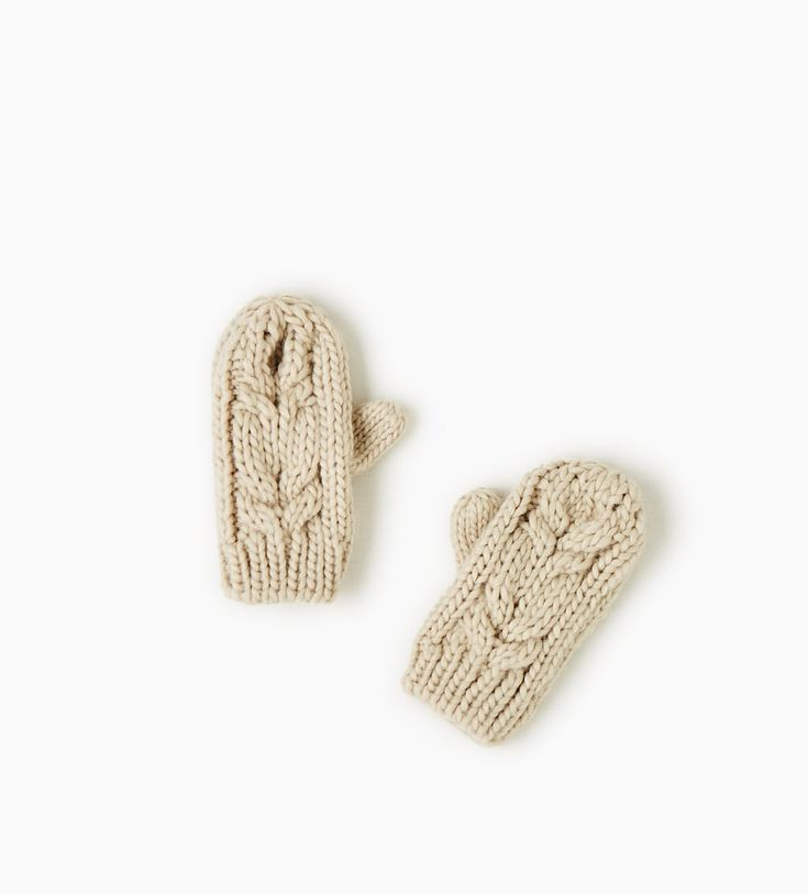 Image 1 of CABLE-KNIT MITTENS from Zara