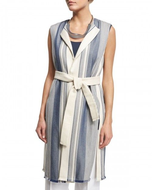 Lafayette+148+New+York+Fergie+Belted+Striped+Vest+Women's+Raffia+Multi+|+Clothing