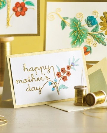 Show Mom how much you care by crafting her a handmade greeting card using watercolors, gold thread, and our festive clip-art blooms.