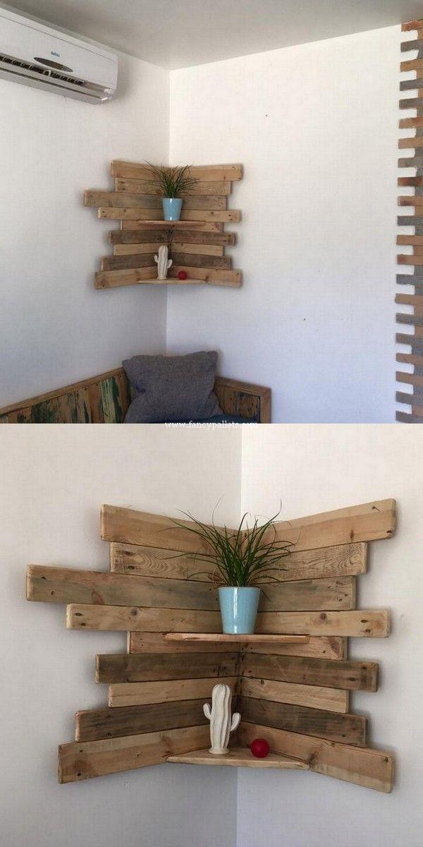 Sehr schöne Diy Holzpaletten Ecke Regal Frische Idee # Schöne # Ecke