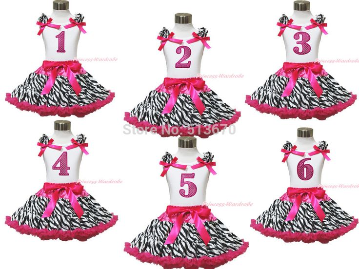 >> Click to Buy << Baby Girl Birthday 1ST 2ND 3RD 4TH 5Th White Top Hot Pink Zebra Pettiskirt 1-8Y MAPSA0580 #Affiliate