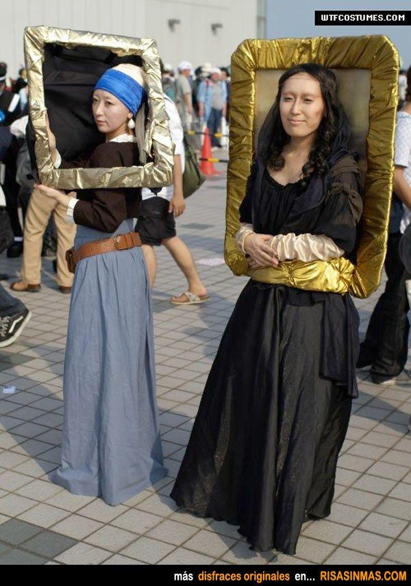 Disfraces originales: La joven de la perla y La Mona Lisa.