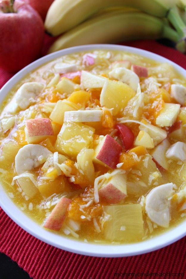 Fruit Pudding Salad  1 (20oz) can pineapple chunks or tidbits with juice 1 (11oz) can mandarin oranges, drained 1 (16oz) can fruit cocktail with juice 1 (3-3.4oz) pkg instant lemon pudding mix 2 banana's, sliced 1 cup shredded coconut 1 apple, diced (optional) fresh grapes