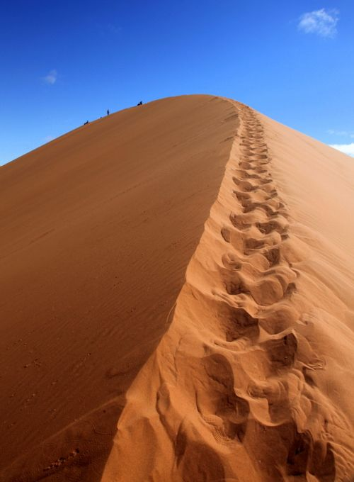 Sand dune ridge trail - Sossusvlei. #Safari #Africa #Namibia #WildernessSafaris