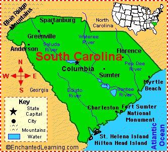 South Carolina Facts Map And State Symbols