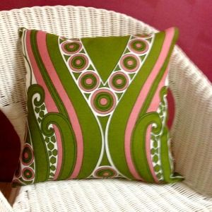 Vintage Fabric Cushion 60s Pink/Green