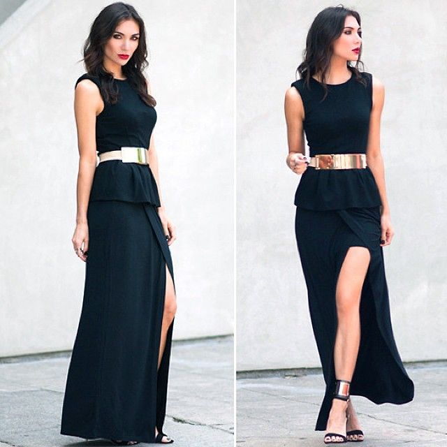Long Black Dress With Gold Belt Clothing Options Gold Belts Fashion