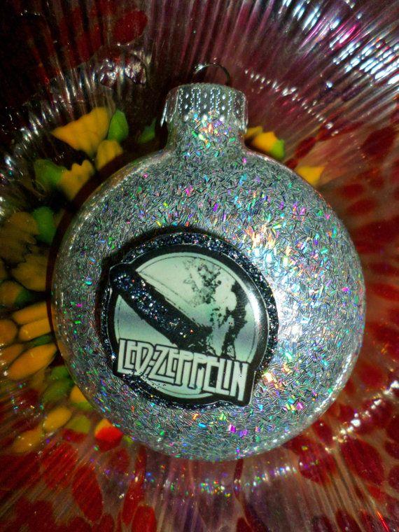 led zeppelin glass holographic glitter resin christmas ornament ooak holiday decoration gift. Black Bedroom Furniture Sets. Home Design Ideas
