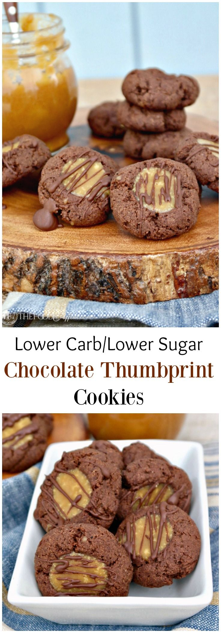 Low carb chocolate thumbprint cookies with a low sugar caramel filling topped with a drizzle of chocolate. Each cookie is about 7 carbs each.