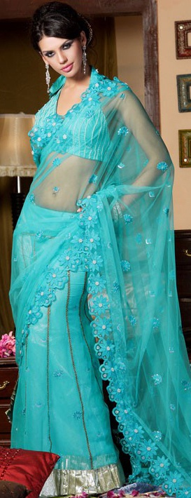 Aqua Blue Embroidered Saree