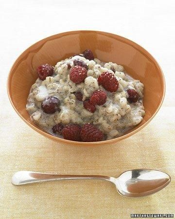 Whole Grain Goodness // Warm Barley Cereal with Dried Cherries RecipeBreakfast Brunches, Almond Milk, Recipe, Dry Cherries, Warm Barley, 320 Calories, Martha Stewart, Barley Cereal, Healthy Food