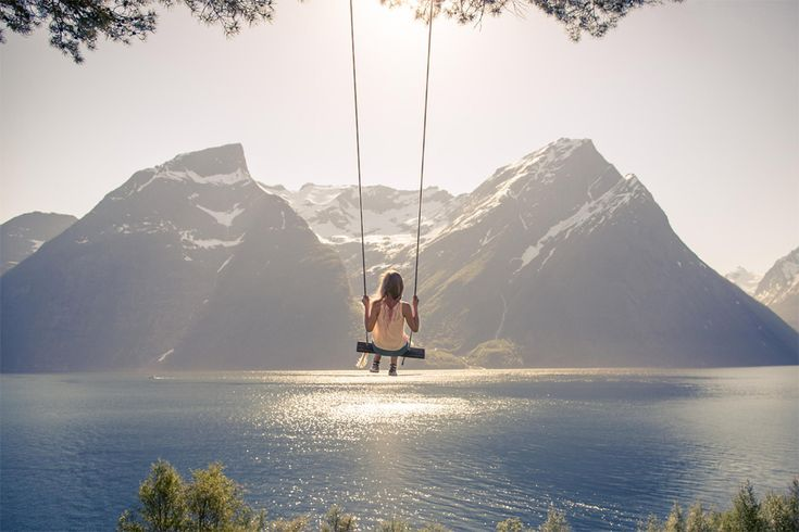 Nestled deep inside the beautiful Hjørundfjord of coastal Norway you will find this swing sitting on the mountain edge. Accessible mainly by boat, this spot is a favorite among the locals