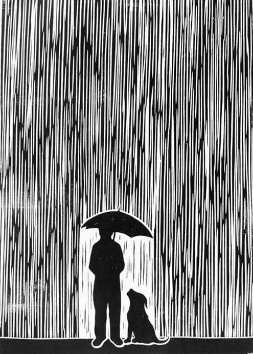 """Standing In The Rain"" linocut by Chris Bourke. http ... | 495 x 692 jpeg 147kB"