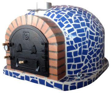 Unique Outdoor Garden Wood Fired Pizza Oven w Mosaic Cast Iron Door Insulation