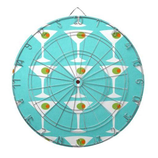 Keep 'Em Coming Martini Dart Board--#darts #dartboard #retro #midcenturymodern #martinis #games #Zazzle #turquoise