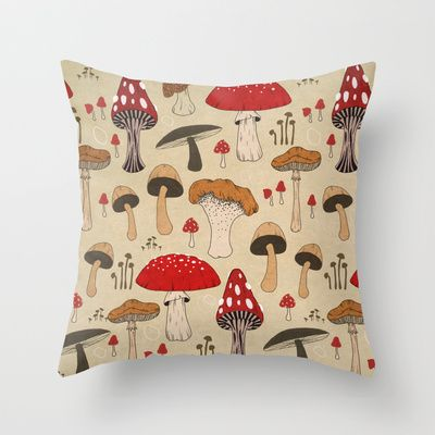 Mushrooms Throw Pillow by Lynette Sherrard Illustration And Design - $20.00