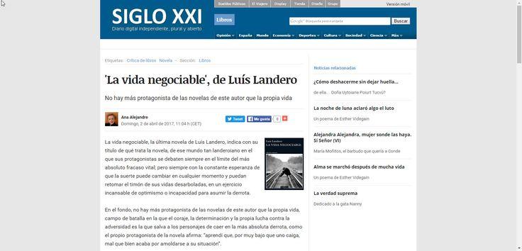 """Un nuevo artículo de crítica de la novela """", de Luís LanderoLa vida negociable"""