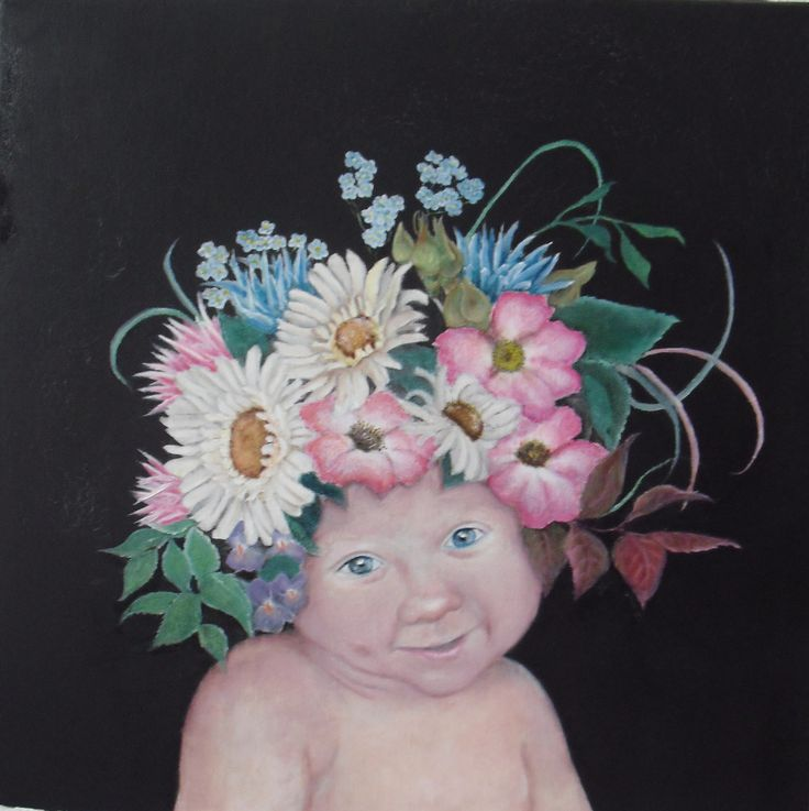 Little Princess of Flowers, oil on panel, 40 x 50 cm, by Sara Calcagno, italian painter