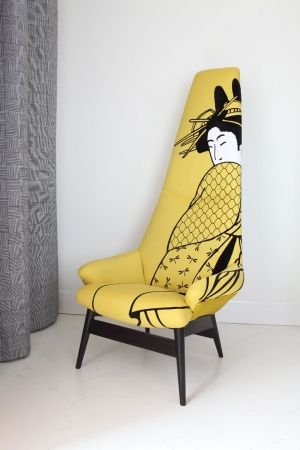 "Geisha armchair is redesigned and reupholstered armchair made in 1960´s. In conformity with ""upcycling"" approach, the chair was not only renewed, but it´s shape was changed and actualized, so that up-to date and attractive piece of furniture was made. Upholstery textile was hand printed."