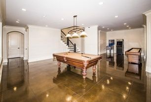 Transitional Game Room with High ceiling, Classic Upright Arcade Game Machine with 60 Games Built-in, Crown molding