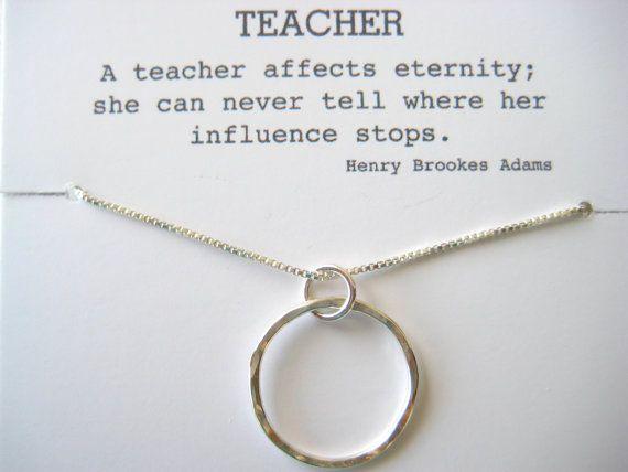 Medium Gift for Your Teacher, Teacher Mentor Gift, Teacher Retirement Gift, Professor Gift, Eternity Necklace, Karma Necklace