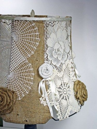 Large Shabby Handmade Lampshade Vintage Doilies & Burlap OOAK