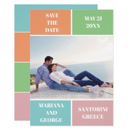 Colorful color block wedding Save the Date Card - tap, personalize, buy right now!