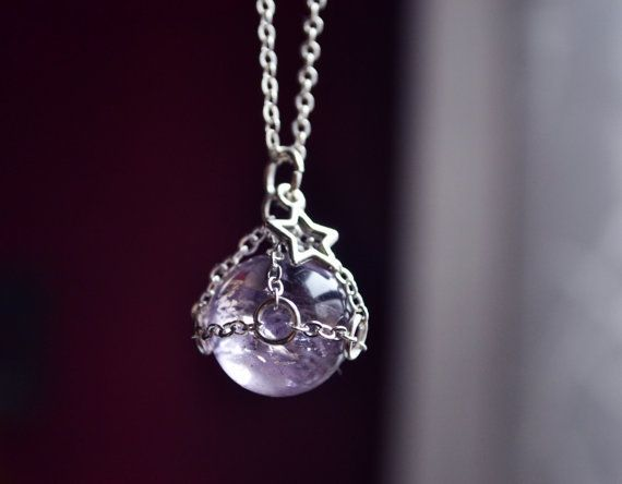 Amethyst Crystal Ball, Sphere Necklace, Crystal Sphere, Small Crystal Ball Necklace, Amethyst Jewelry, Star Necklace, Caged Stone Necklace