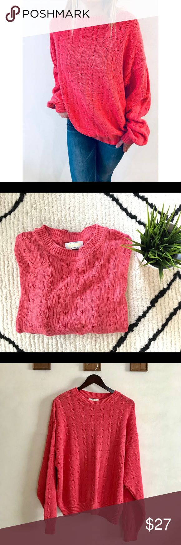 "United Colors of Benetton Cable Knit Sweater Beautiful coral colored 'United Colors of Benetton"" cable knit sweater in a size large.  I am usually a small so it is big on me, but super cute as an oversized sweater!  Small snag on the left neckline (shown in last photo). Good condition. Super comfy! 100% Cotton Bottom Hem: 20 in Shoulder to Hem: 26 in Sleeve Length: 22 in  ✨I love ALL offers! Don't be shy! ✨ United Colors Of Benetton Sweaters Shrugs & Ponchos"