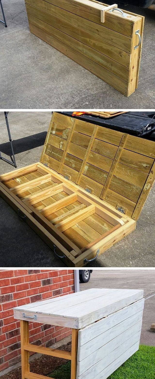 Pallet Foldable Display Table Diytablesfoldable Wood Pallets Pallet Display Pallet