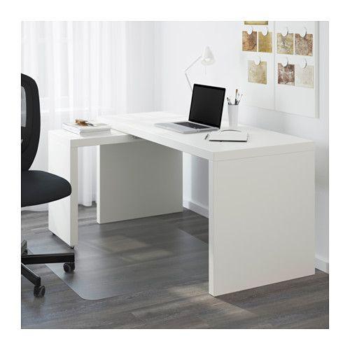 MALM Bureau met uittrekbaar blad - wit - IKEA