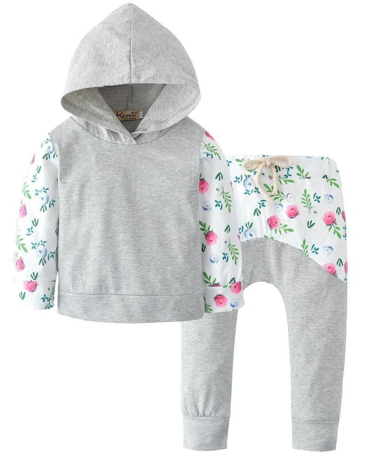 Grey and White Floral Baby Girl Outfit