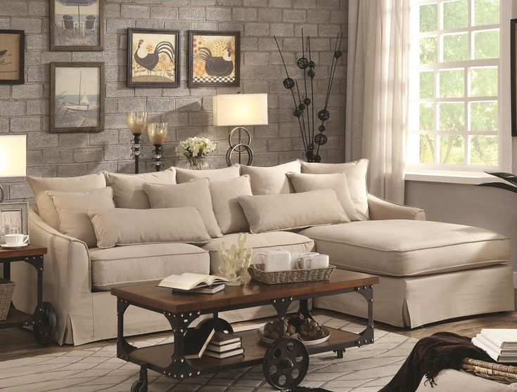 Coaster knottley slipcovered sectional sofa with chaise for Beige sectional with chaise