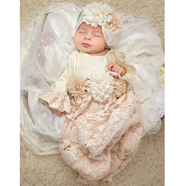 Haute Baby Autumn Mist Gown - Stunning Flowers & Lace Baby Take Home Outift