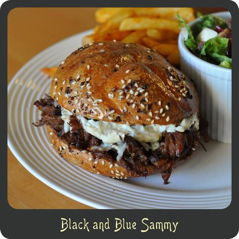 Black and Blue Sammy—These have got to be the best crock-pot sandwiches I have ever had! Perfect as sliders for a crowd. Perhaps this Sunday?