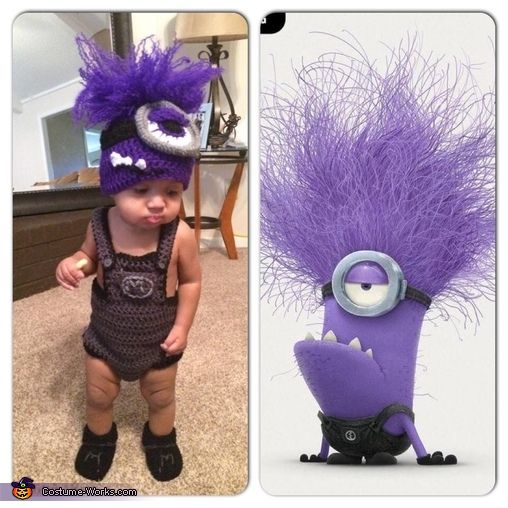 Demetria: This is my 12 month old son Carter wearing a crochet purple minion costume that I made for him. We got the idea from the Despicable me cartoon. Photo 2...