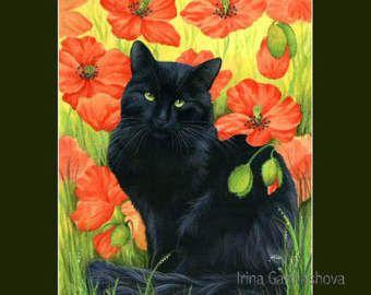 Zwarte kat Print zwart Poppies door Irina Garmashova