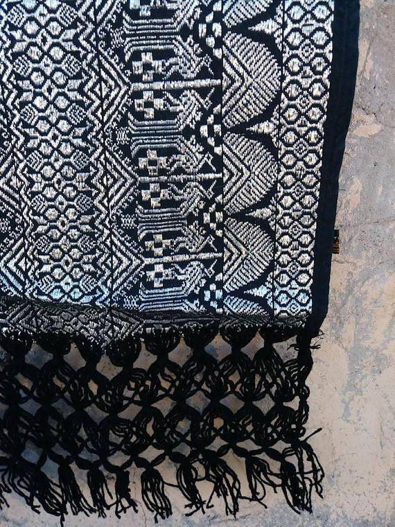 Vintage 1960s Shawl 60s Mexican Reboso Wrap Woven Black Silver Metallic Table Runner