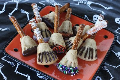 Witch Brooms: Use cookie dough to form a broom shape around the end of a large pretzel rod. Use a tooth pick to make indentations in the cookies if you want. If your cookies spread too much during baking just use a knife to trim the edges when they come out of the oven and are still warm. Then decorate as desired.
